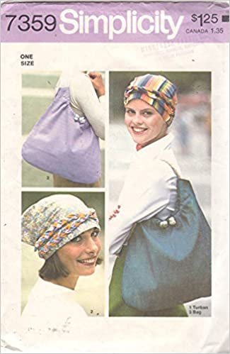 Vintage Simplicity One Size Turban Scarf Hat and Bag Pattern 7359   Simplicity  Amazon.com  Books 15d182b5216