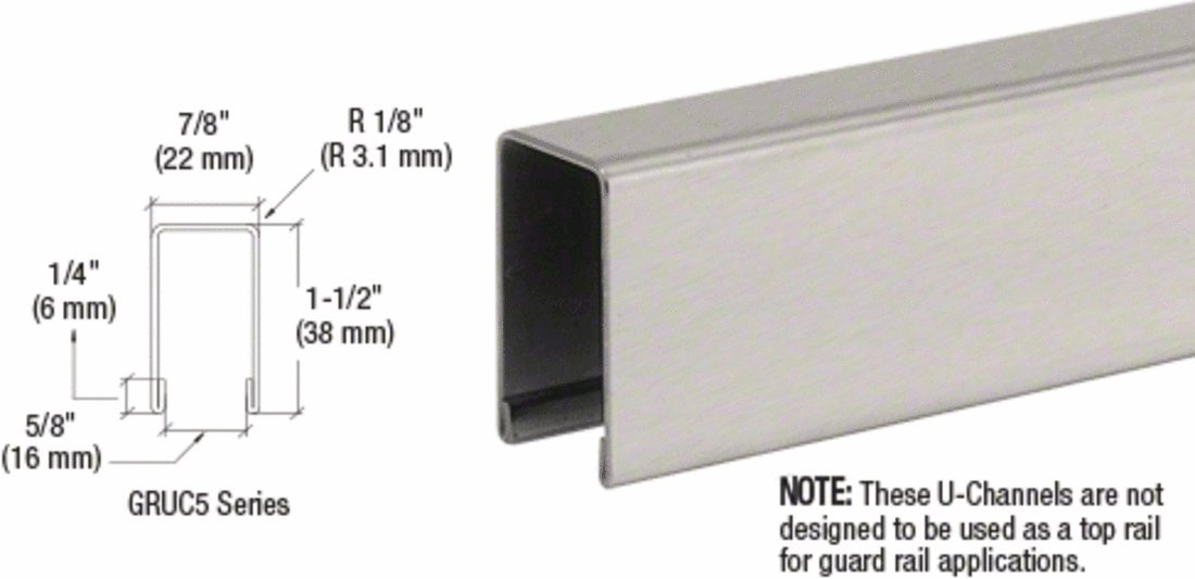 CRL Brushed Stainless U-Channel for 1/2'' or 5/8'' Glass - 10 ft Long