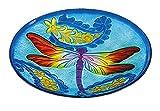 Evergreen Kaleidoscopic Dragonfly Glass Birdbath Bowl, 18 inches