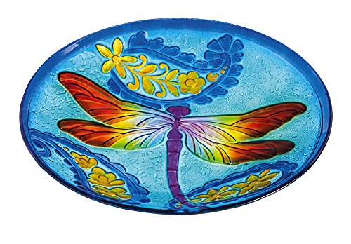 Evergreen Kaleidoscopic Dragonfly Glass Birdbath Bowl, 18 ()