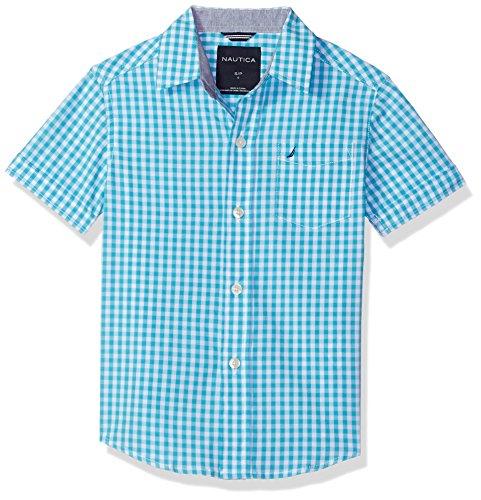 Nautica Boys' Big Short Sleeve Gingham Woven Shirt, Samuel Casper Blue, Medium (10/12)
