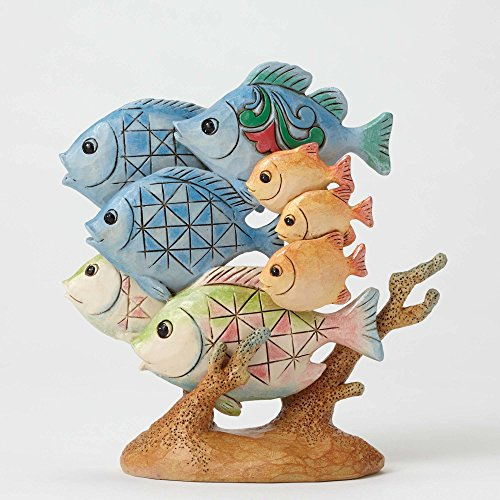 "Enesco Jim Shore Heartwood Creek Pint Size Tropical Fish, 4.5"" Stone Resin Figurine, Multicolor"
