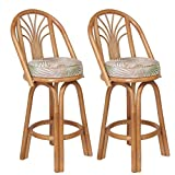 Assembled in USA Premium Rattan Sundance Bar & Counter Stools (Set of 2) (26'' (Counter Height))