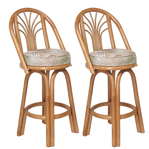 Assembled in USA Premium Rattan Sundance Bar & Counter Stools (Set of 2) (26'' (Counter Height)) by urbandesignfurnishings.com