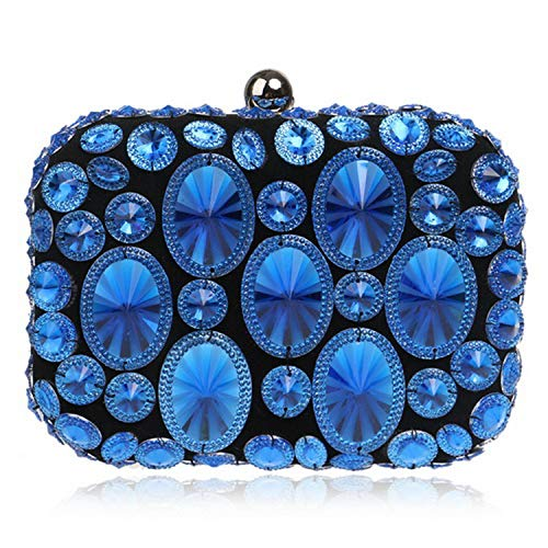 - Embroidery Red Evening Bags Chain Shoulder Beading Clutch Lip Metal Rhinestones Purse,Ym1131Blue
