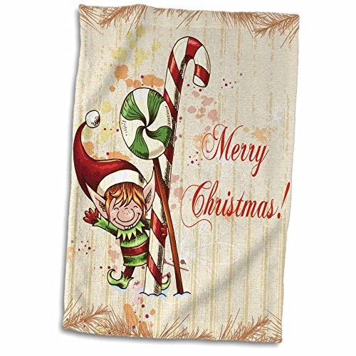 Pañuelo 3D Rosa con Menta de Pimienta y caña de Caramelos, Navidad, Navidad, día Festivo, Manos y Toallas de Deporte, 15 x...