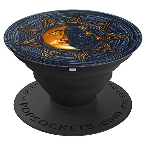 Gold and Black Vintage Moon Sun and Stars & Design - PopSockets Grip and Stand for Phones and Tablets