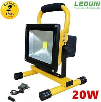 Foco LED Proyector Exterior 20W Lámpara Recargable Portátil para ...
