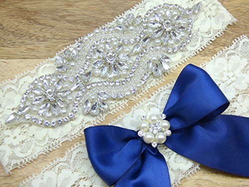 Emery Ivory Lace Rhinestone Bridal Garter, Something Blue, Wedding Garter Set