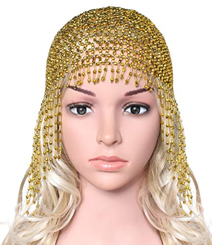 BABEYOND 1920s Beaded Cap Headpiece Roaring 20s Beaded Flapper Headpiece Belly Dance Cap Exotic Cleopatra Headpiece for Gatsby Themed Party (Gold)]()