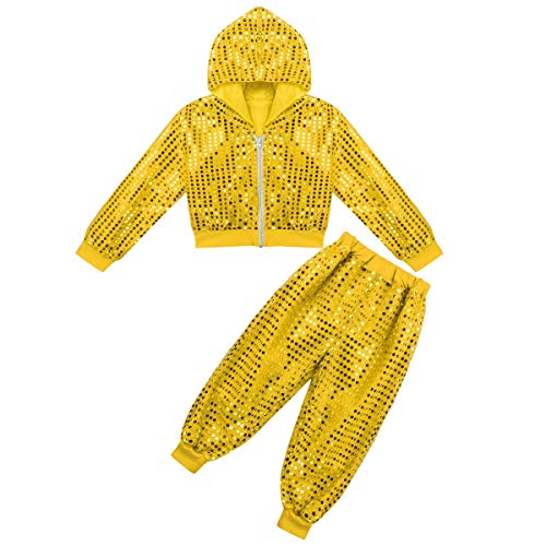 CHICTRY Kids Sequin Party Outfits Shiny Jackets&Pants Hip-hop Jazz Dancing Hooded Costumes Stage Performance Yellow 12-14