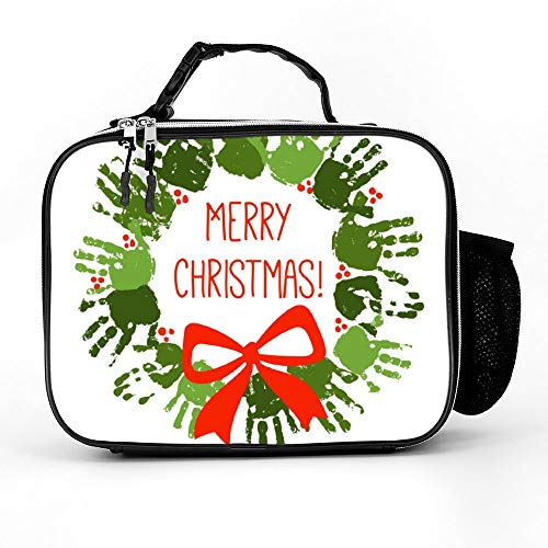 Handprint Christmas Wreath With Red Handdrawn Bow Lunch Bags Insulated Zipper with Pockets Portable Lunch Box for Women for Work for Kids (Wreath Christmas Handprints)