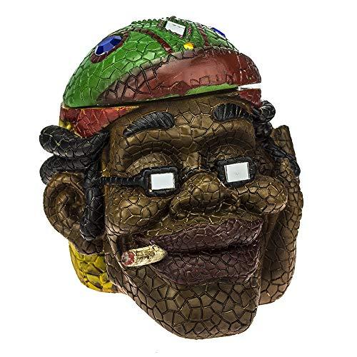 (Ashtray Rasta Man Head - Intricate Jamaican Man Mosaic Tile Figurine Polyresin Ashtray Weed Hemp Marijuana Pot Cannabis Party Accessory - (ASH-RM1))