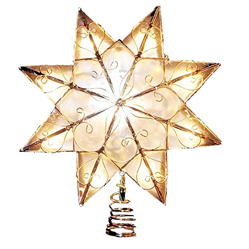 Kurt Adler Indoor 10 Light 8Point Capiz Star Treetop with Arabesque Decoration