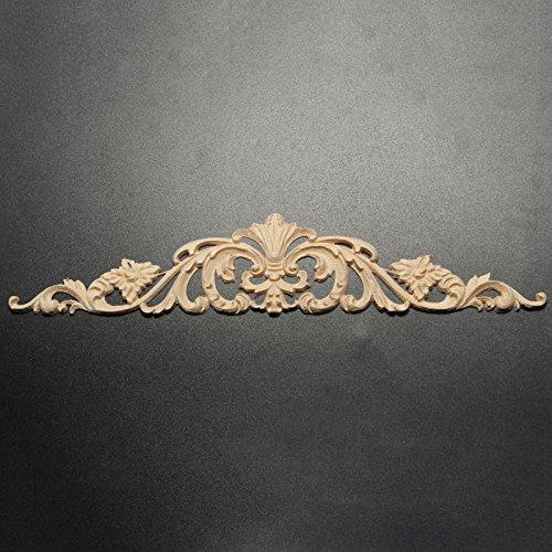Vintage Wood Applique - 1 Piece Vintage Wood Carved Corner Woodcarving Decal Onlay Applique for Home Furniture Cabinets Decor Decorative Sculptures - 40x8cm