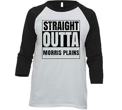 35b1452a4 Straight Outta Morris Plains New Jersey City Grunge Parody Baseball Raglan  Shirt   Amazon.com