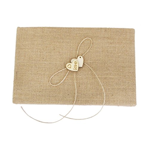FENICAL Village Wedding GuestBook Burlap Hessian Guest Book with Wood Heart]()