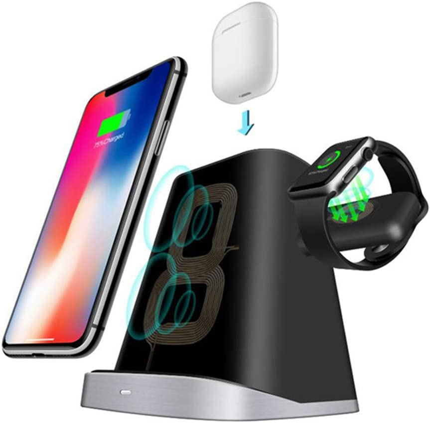 Wireless Charger, 3 in 1 Qi Fast Charger for Apple Watch 2 3 4 /Airpods, Wireless Charger for Samsung S10-Black S9 S8 S7, iPhone 11/11 Pro/11 Pro Max/XS Max/XS XR Plus and Qi-Certified Phones