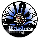 Shinestore LED Night Light Barber Shop Tools Vinyl Record Wall Clock LED Light Lamp Hairdressers Stylists Blacklight Clock Color Changing Remote Controller