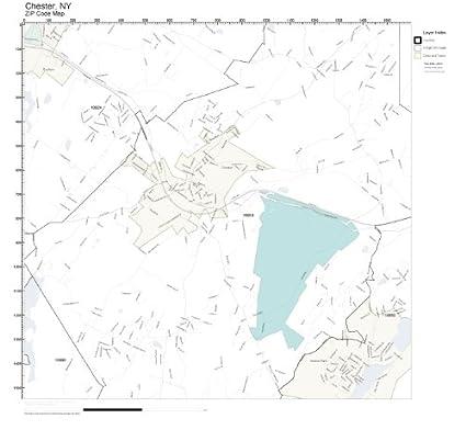Amazon Com Zip Code Wall Map Of Chester Ny Zip Code Map Laminated