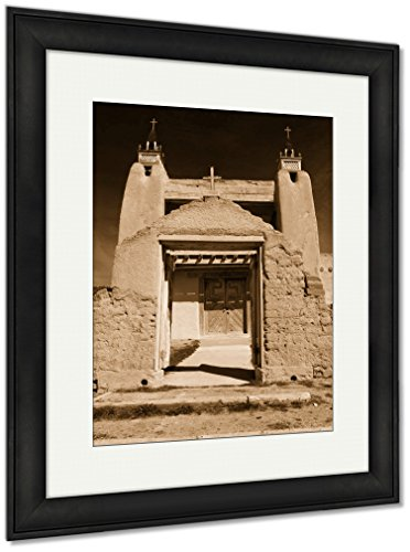 Ashley Framed Prints San Jose De Gracia Catholic Church, Wall Art Home Decoration, Sepia, 40x34 (frame size), Black Frame, AG6534403 by Ashley Framed Prints