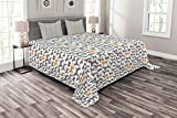 Ambesonne Dogs Bedspread Set King Size, Pattern with Dog Silhouettes Different Breeds Animal Pet Lover Themed Print, 3 Piece Decorative Quilted Coverlet with 2 Pillow Shams, Grey Orange and White