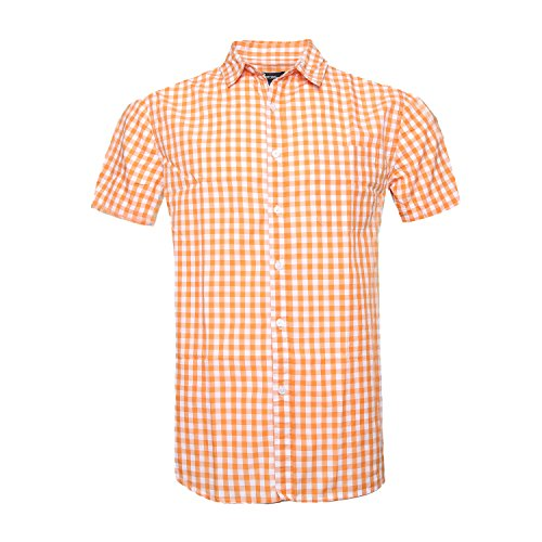 AVANZADA Men's Casual Plaid Short Sleeve Button Down Shirts Orange L ()