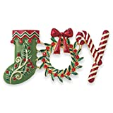 ACCESSORIESFOREVER Christmas Jewelry Holiday Crystal JOY Sock Wreath Candy Cane Brooch BH221 MT