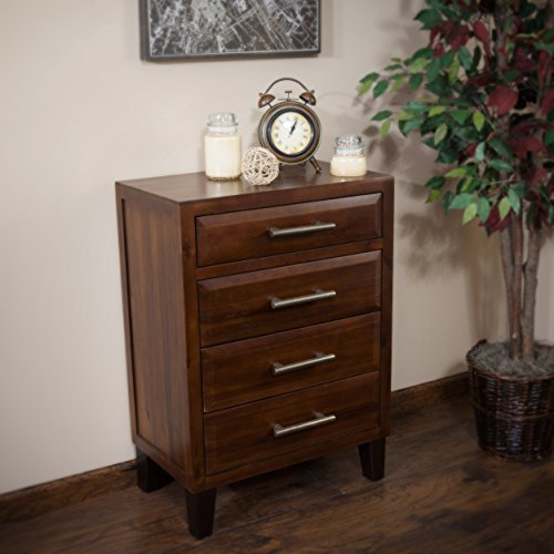 Glendora Brown Mahogany Solid Wood Four Drawer Storage Dresser Small Mahogany 3 Drawer Chest