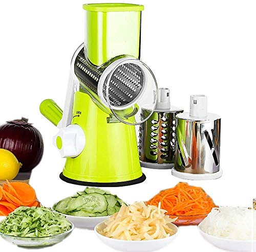 Multifunctional Vegetable Mandoline Slicer,Rotary Cheese Graterwith 3 Interchangeable Ultra Sharp Cylinders Stainless Steel Blades,Manual and Safe Milling