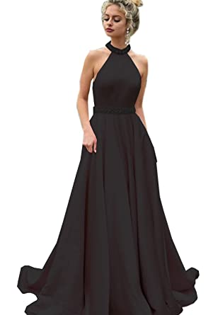 2ad7d06144 Women s Halter Sleeveless Evening Prom Gowns Satin A-Line Crystal Sash  Backless Formal Party Dresses