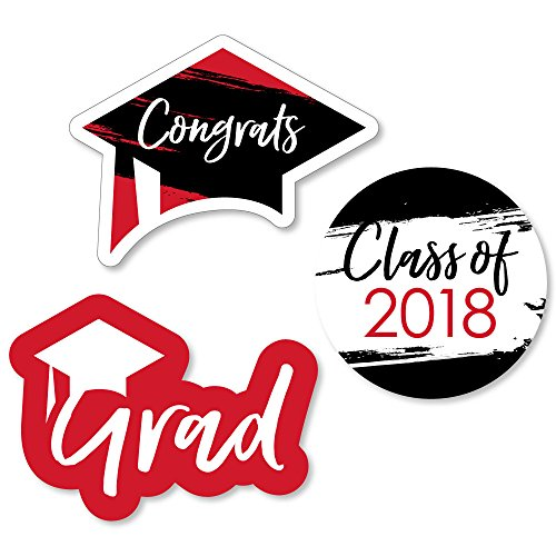 (Red Grad - Best is Yet to Come - DIY Shaped Red 2018 Graduation Party Cut-Outs - 24)