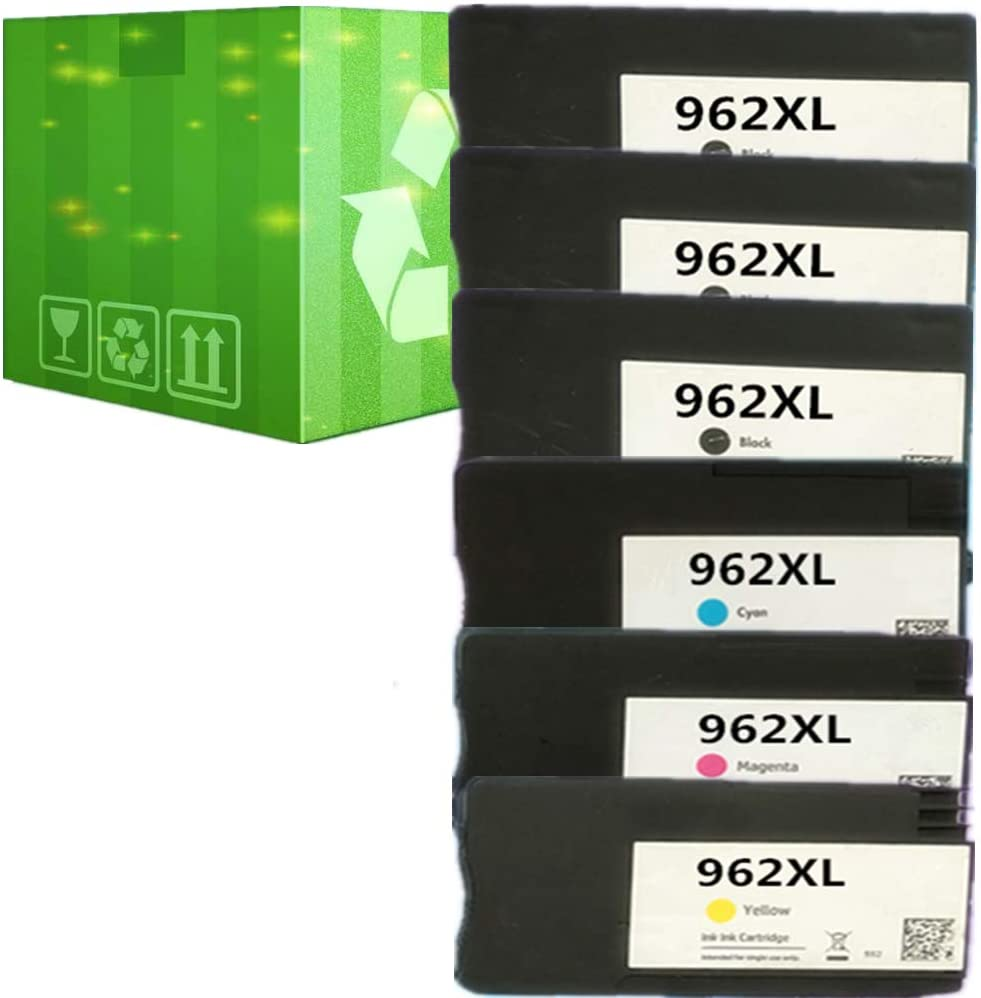 J2INK Remanufactured Ink Cartridge Replacement for HP 962XL 962 6 Pack Ink Cartridge 3JA03AN 3JA00AN 3JA01AN 3JA02AN OfficeJet Pro 9025 9020 9018 9015 9010