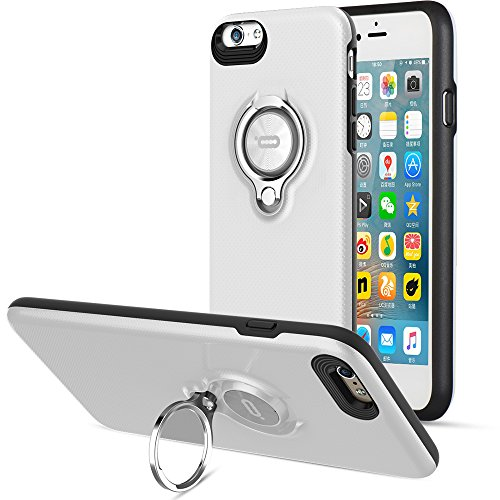iPhone 6s Plus Case, iPhone 6 Plus Case, ICONFLANG 360 Degree Rotating Ring Kickstand Case Shockproof Impact Protection [Support Magnetic Car Mount Case] for iPhone 6s Plus/6 Plus (2018)-White Black