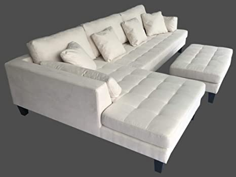 3pc contemporary cream microfiber sectional sofa chaise ottoman s168lw