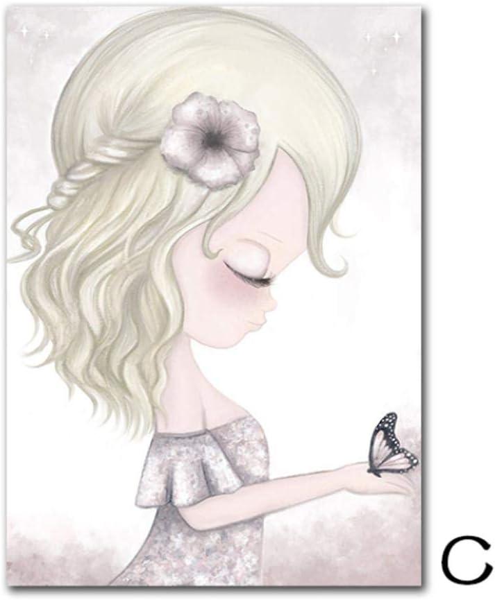 40X60 CM YTHK Affiche Nordique Licorne B/éb/é Affiche P/épini/ère Affiches Imprime Rose Toile Peinture Mur Art Mur Photos pour Enfants Fille Chambre D/écor A