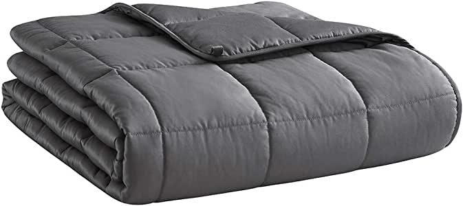 HOSUKKO Weighted Blanket Adult 60''x80'', 20lbs for 170-230 lbs Individual, Queen Bed Weighted 2.0 Heavy Blanket 100% New Cotton with Glass Beads Grey for Adults, Youths