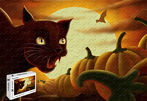 PigBangbang,29.5 X 19.6 Inch,Premium Basswood Large Size - Black Cat On Halloween Night - 1000 Piece Jigsaw -