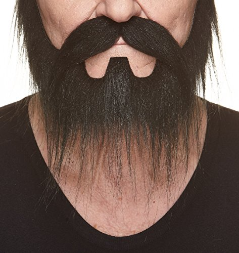 Mustaches Self Adhesive, Novelty, Nomad Fake Beard and Fake Mustache, False Facial Hair, Costume Accessory for Adults, Black -