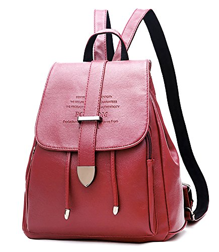 (EssFeel Stylish Leather Backpack School Travel Daypack Casual Style Backpack Knapsack for Women Girl Wine Red)