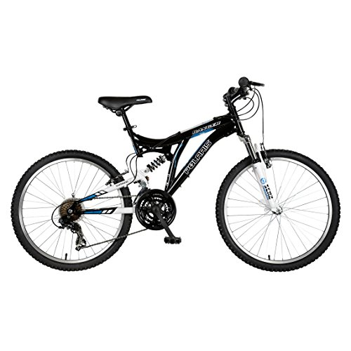 Polaris Ranger Full Suspension Mountain Bike, 24 inch Wheels, 17 inch Frame, Boy's Bike, Black