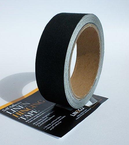Lineco Gummed Hinging Tape for Artwork Framing, Acid-Free Linen Fabric, 1.25 inch X 35 Feet, Black (L533-1016)