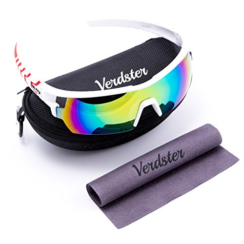 Verdster TourDePro Sunglasses For Men and Women - Sporty Spectacles - UV Protection Shades - Unbreakable Frame - Pack of Equipment - Great for Biking, Driving, Running, Cycling, Ski, Snowboard, - For Running Shades