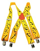 """Hold-Ups Tradesman Series 2"""" wide in Yardstick Pattern with No-slip Silver Clips"""