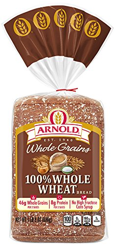 Arnold Whole Grains 100% Whole Wheat Sliced Bread, 24 (Fiber Bread)