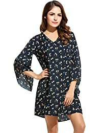 Zeagoo Women's Bohemian Style Trumpet Sleeve Loose Casual Shift Dress