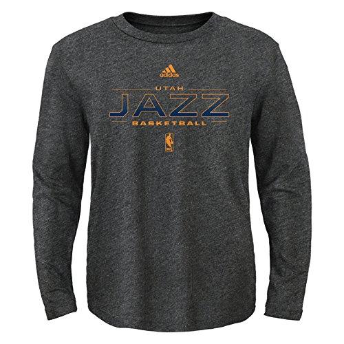 fan products of NBA Athletic Standard Long Sleeve Tee-Charcoal-M(10-12), Utah Jazz