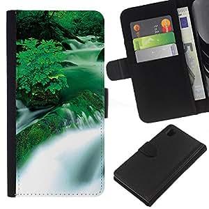 KLONGSHOP // Tirón de la caja Cartera de cuero con ranuras para tarjetas - Cascada Negro y Blanco Puesta del sol - Sony Xperia Z1 L39 //