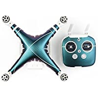 DJI Phantom 3 PVC Skin Decals, TMO Exclusive Water-resistant Skin Decal Kit for DJI Phantom 3 Professional / Advanced Quadcopter Drone Body Shell and Remote Controller (Carbon Fiber Darkcyan)