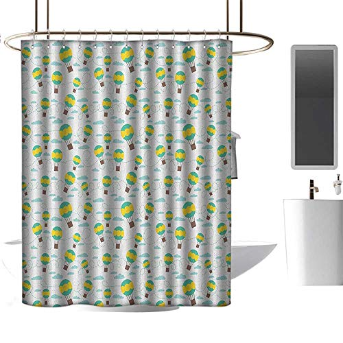 TimBeve Shower Curtain Liner Mildew Resistant Kids,Pattern with Cartoon Style Hot Air Balloons in Sky Swirling Dashed Lines and Clouds, Multicolor,100% Polyester Fabric Bathroom Drapes -